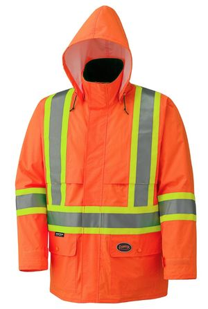 Hi Viz Lightweight Waterproof Safety Jacket with Detachable Hood